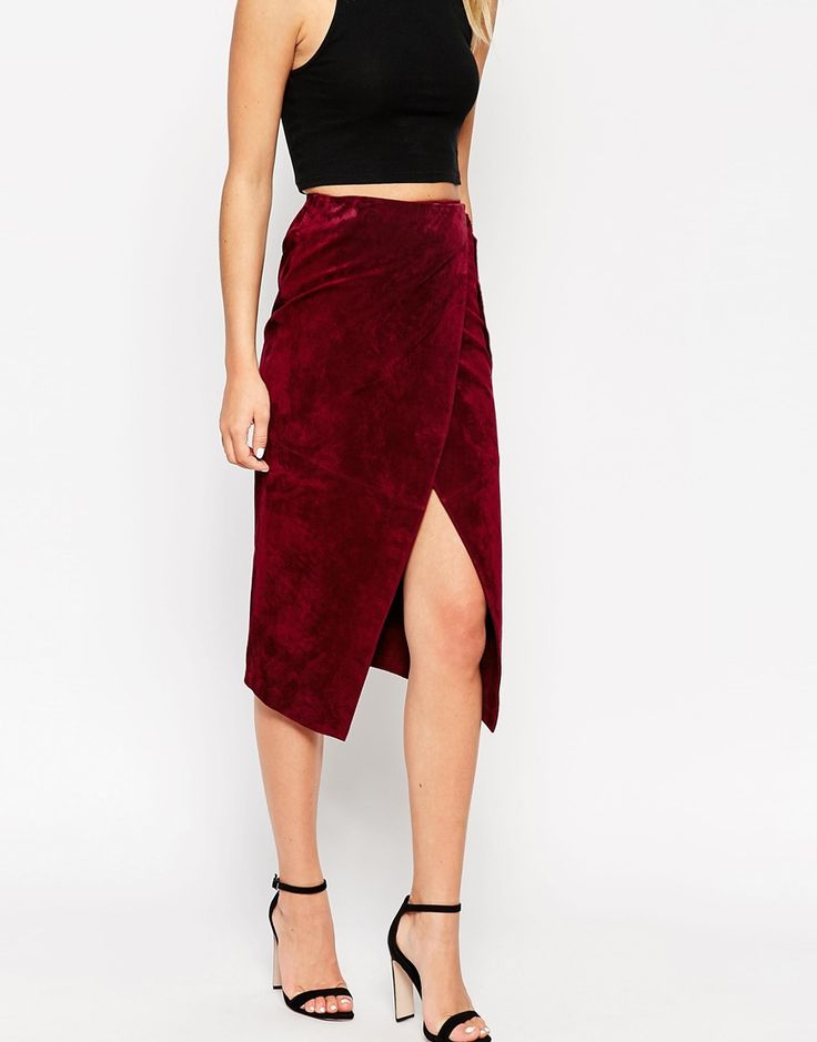 Image 4 of ASOS Wrap Pencil Skirt in Suede with D-Ring