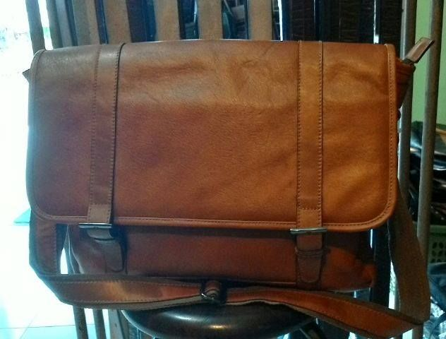 Postman or Messenger Bag for men, pull up leather, large lugage, inner suede, free shipping (Indonesia Only) 1500K IDR