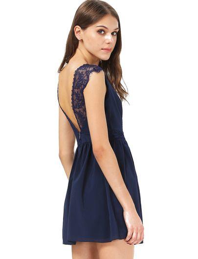 R ckenfreies kleid aus chiffon mit spitzedetail blau - Shein kleidung ...