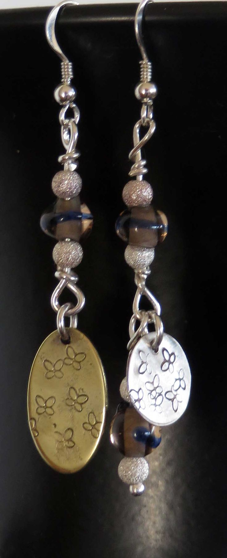 Another pair of asymetrical earrings - silver, brass, hand-wound glass beads.
