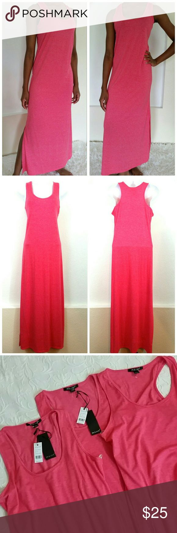 Coral Maxi Tank Dress 5th Love coral pink tank maxi dress. 2 size large one size small. All new. one small and one large with tags, one large without tags DD62717399 5th & Love Dresses Maxi