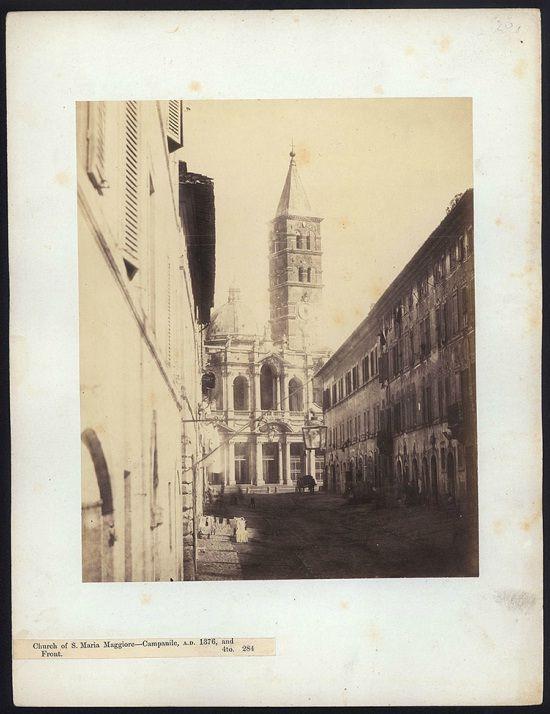 """Inedito scorcio di S. Maria Maggiore dalla """"primitiva"""" Via Merulana (1864-1866)"""