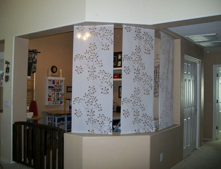 Fabulous Room Divider Curtain Track With White Graphic Floral Oranament For Decorating Rooms Interior Design Lovely Dividers Space