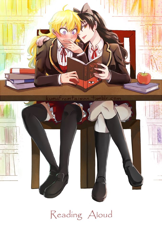RWBY - Reading with friends.--> I have a ton of yaoi and yuri fanfic that I read at school when I'm bored and I'll occasionally read it with my crush. She usually punches me. It's fun for us all.