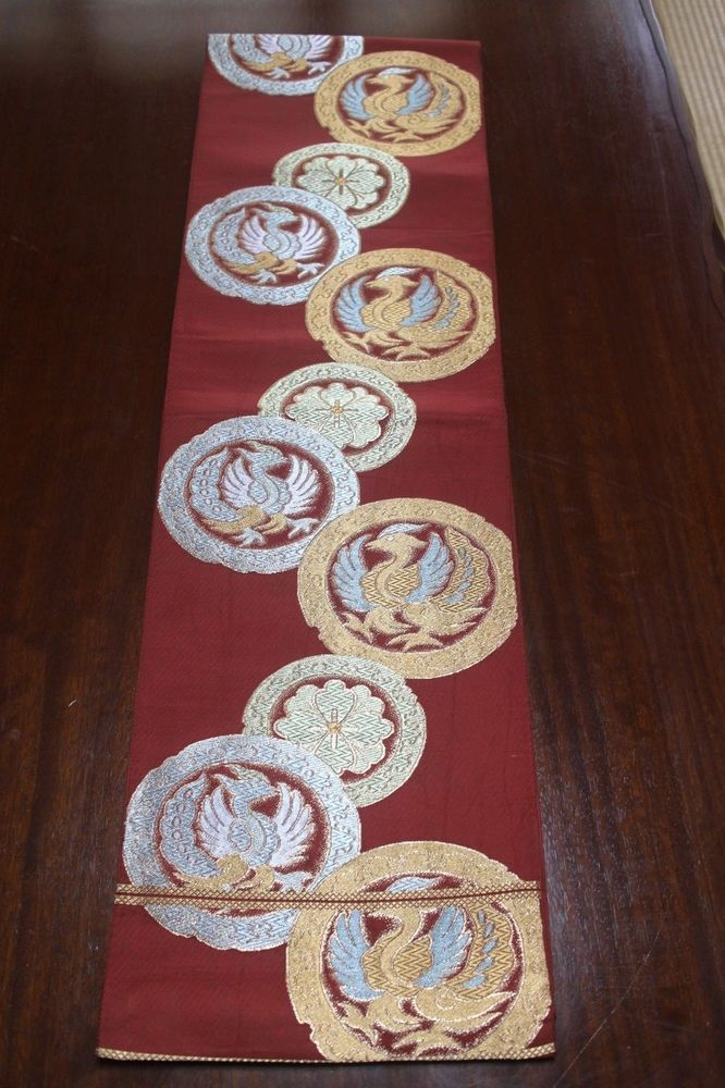 KIMONO OBI Japanese Vintage Antique Japan Table Runner Bird Belt Dark Red  F/S