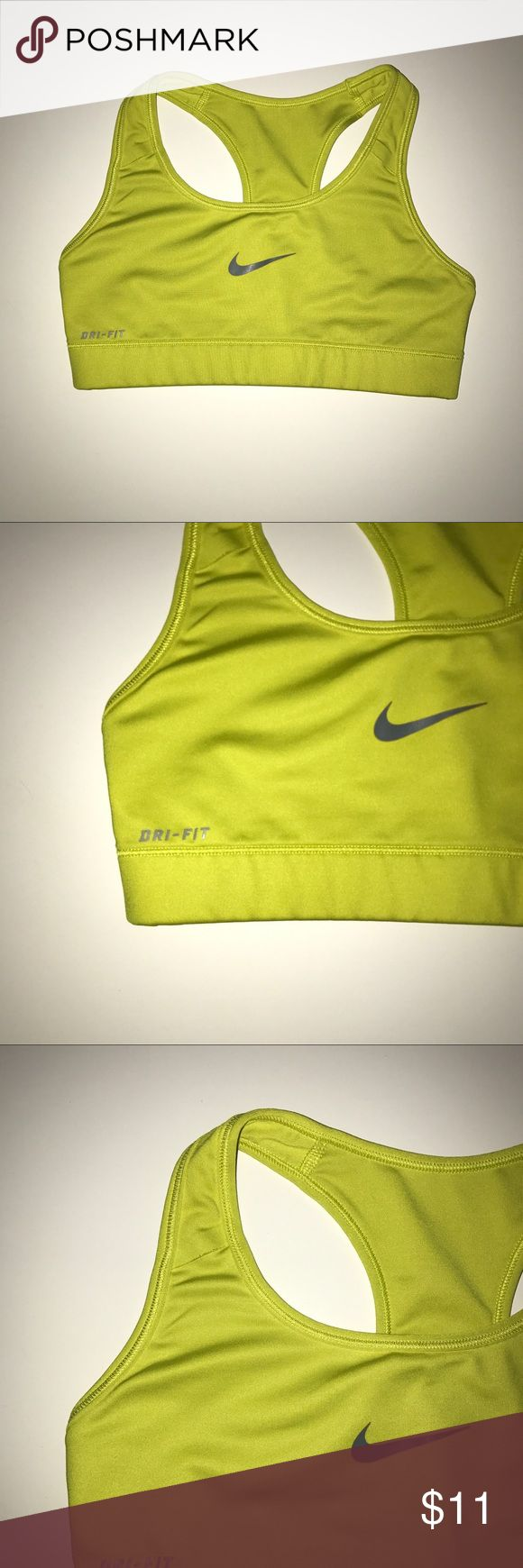 "Nike Dri-Fit; LimeGreen Workout Sports Bra, Size S -From the brand Nike Dri-Fit. -Tag was removed, but runs like a size small. Approximate measurements: •Length: 9 3/4"" •Armpit/Armpit: 13"" •Sleeve length: 1 1/2"" -Lime green/yellow shade. -Straps aren't adjustable. -Stretchy material. Nike Intimates & Sleepwear Bras"
