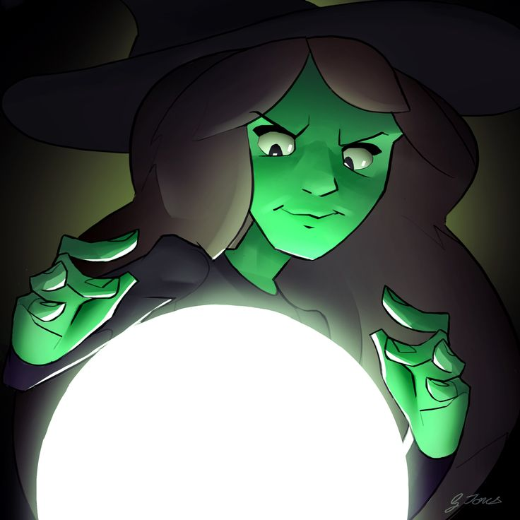 Fairy Tale Witch, drawn in Photoshop by animator Gareth Jones (MAY 2017) Fairy Tales Art from Cloth Cat Animation: wicked witch, green, crystal ball, evil, villain, dark magic