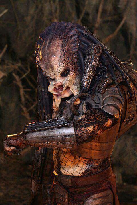 Derek Mears on the set of Predators as the Crucified Predator.