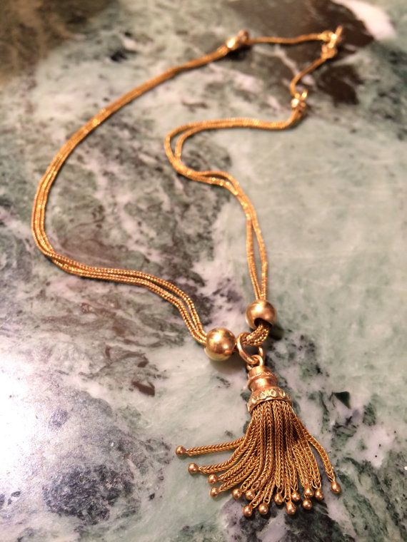 #Antique #French #18Kt #gold #necklace with a #tassel. от ArtJewelsStore на Etsy