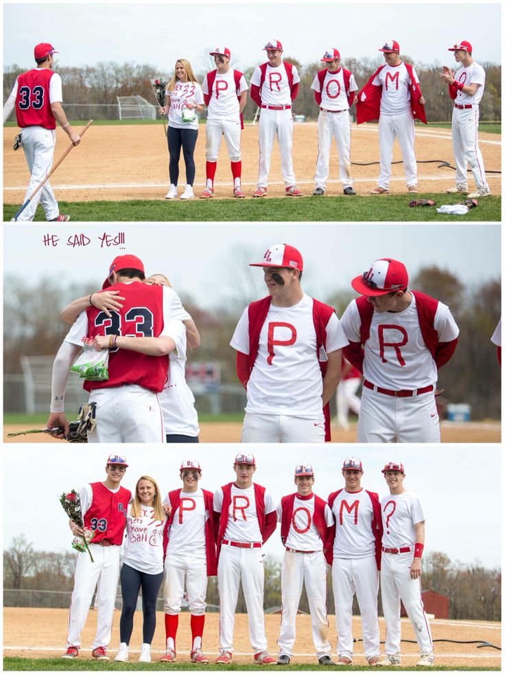 """""""Hey, 33 let's have a ball @... PROM?"""" I'm the baseball manager and with some help from the team was able to find my date to Prom #Baseball #Promposal"""