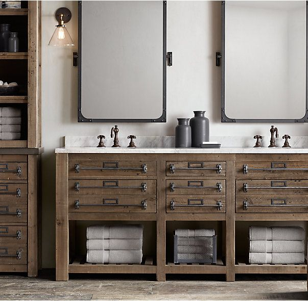 Web Image Gallery LOVE look of vanity Mercantile Double Vanity Sink This collection is inspired by the rugged industrial character of fixtures salvaged from an early