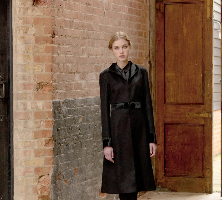 "Katherine Hooker of London.  ""Buxton"" coat.  Wool w/ velvet contrast on cuffs, collar & waistband.  Elegant & functional."