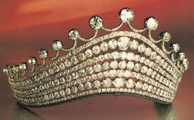 PRINCESS FRANZISKA DIAMOND TIARA: Large diamonds set in silver, a gift to Countess Franziska of Wrbna and Freudenthal (1799-1863) by her husband Prince Karl of Liechtenstein (1790-1865). Neither of their sons married and died without legitimate issue. Unknown if the tiara remained in Liechtenstein royal family. Provenance; sold in 1982 at Sotheby's auction in Geneva for 300,000 Swiss francs.
