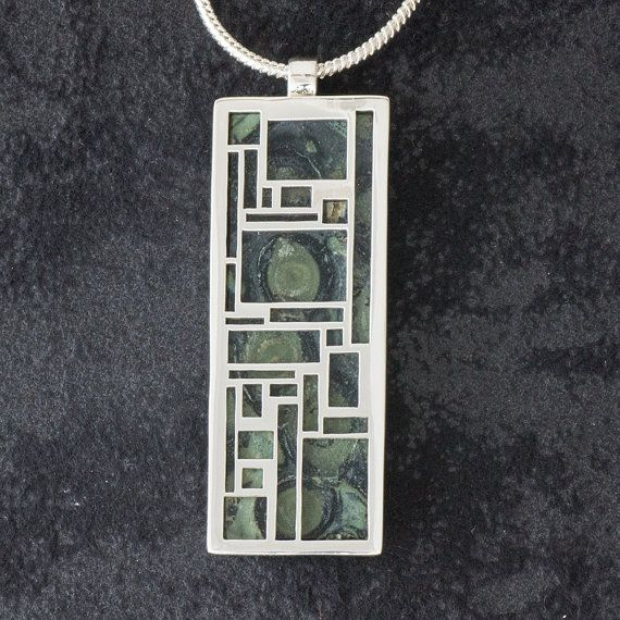 Rectangles featuring 'Kambaba' or Eclipse Jasper- Hand-cut Reversible Sterling Silver Pendant