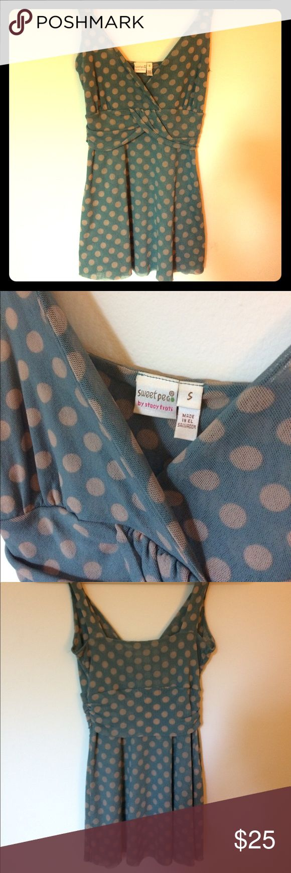 """Anthropologie by Sweat Pea Such a lovely print in teal w/ tan polka dots. Delicate mesh like material that is two layers thick and as u will see in photo 4 it is slightly see through in the right lighting...so either pair w/ a bralette or boldly go braless😊 pic 5 shows how it has an """"unfinished"""" style hemline. Great condition. Anthropologie Tops Tank Tops"""
