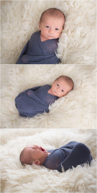 awake newborn photography posese - newborn boy swaddled - great awak newborn shots