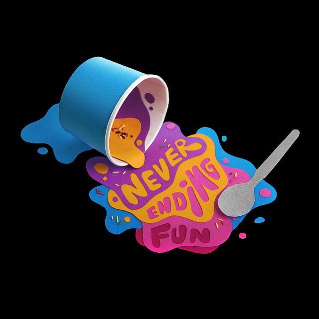 I Scream Never Ending Fun. ice cream paper art / craft #handmade