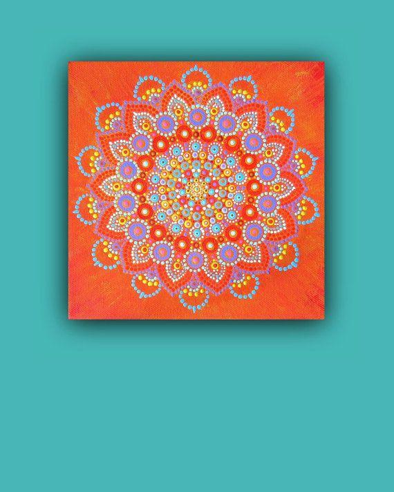 Origineel schilderij op doek, klaar om op te hangen, mandala bloem bezaaid acrylics, een van een soort helder en levendig beeld, oranje blauw paars