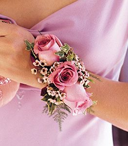 lavender roses wrist corsage (would like this in white or ivory??)