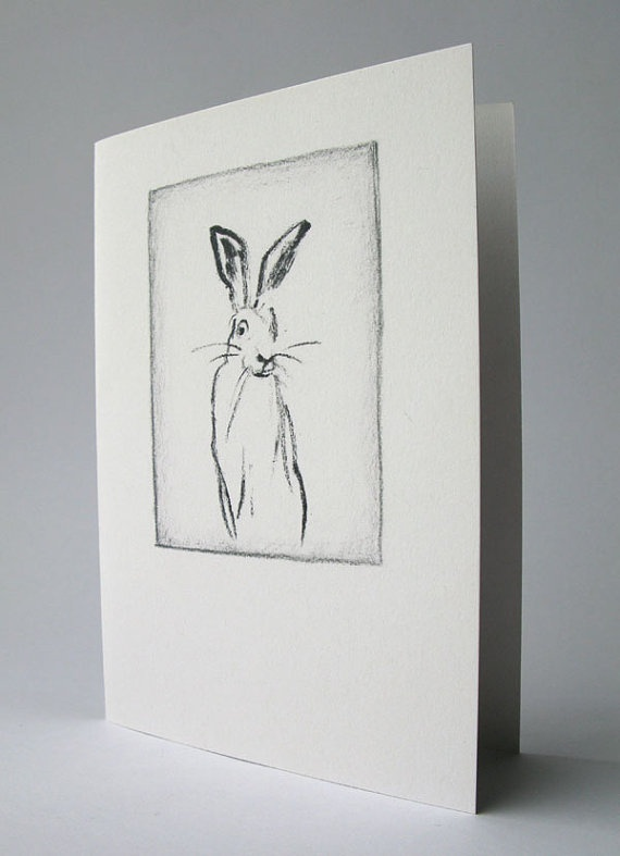 Hare charcoal drawing  greeting card by Mireog on Etsy, €2.40