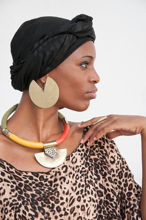 Handmade african- necklace -african jewelry- leather and brass necklace - Tribal necklace