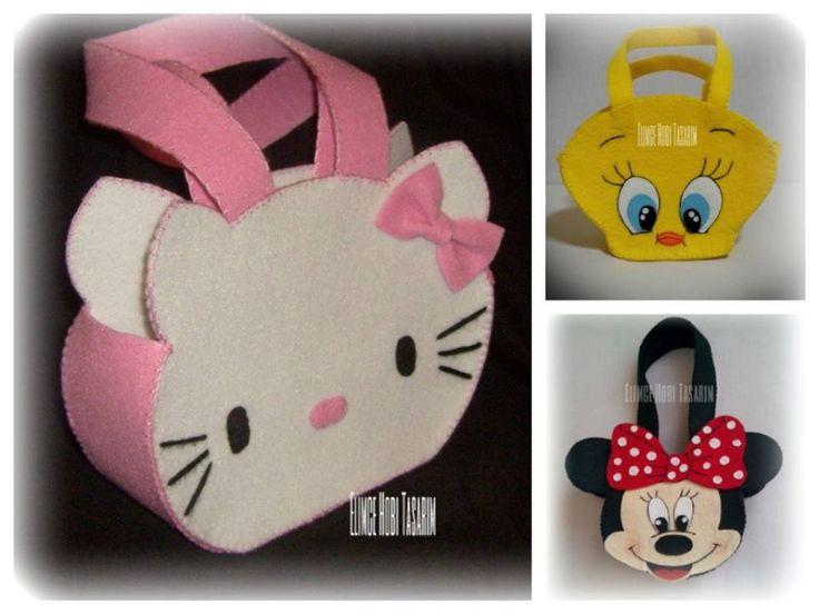 Hello Kıtty,Tweety, Minnie Mouse keçe çocuk çantaları