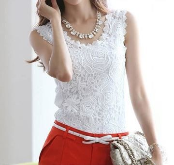 Show details for Women Lace Vintage Sleeveless White Renda Crochet Casual Shirts