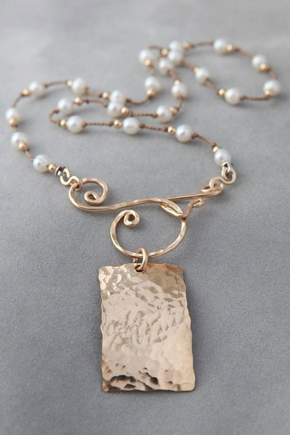 "Jennifer Engel Designs - Ivory Freshwater Pearl with Gold Rectangle & ""S"" Clasp Necklace, Handcrafted Jewelry"
