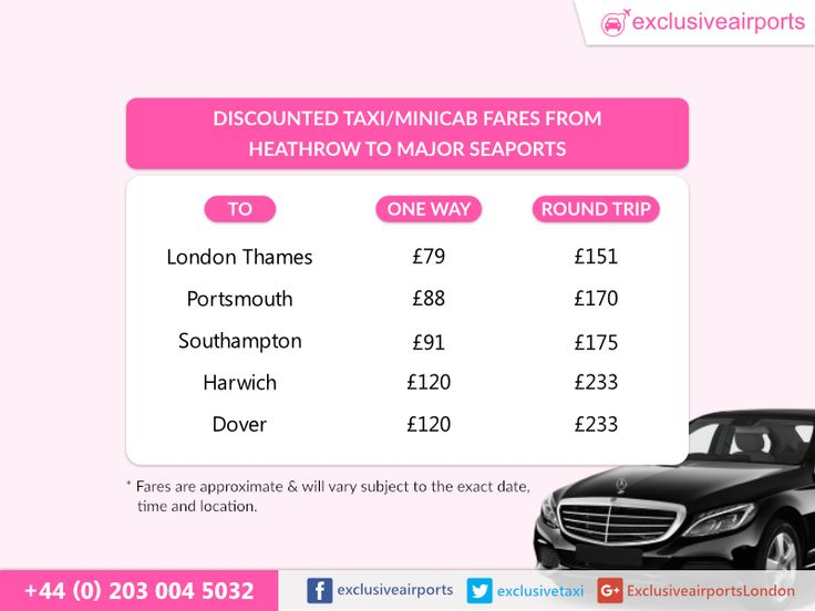 Discounted taxi and minicab fares from Heathrow to Major Seaports. Pre-book the journey here. https://www.exclusiveairports.com/