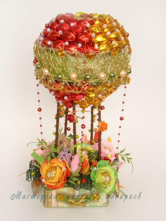Gallery.ru / Радужный шар - полет к мечте! - Композиции из конфет!Тематические композиции - byket-konfet