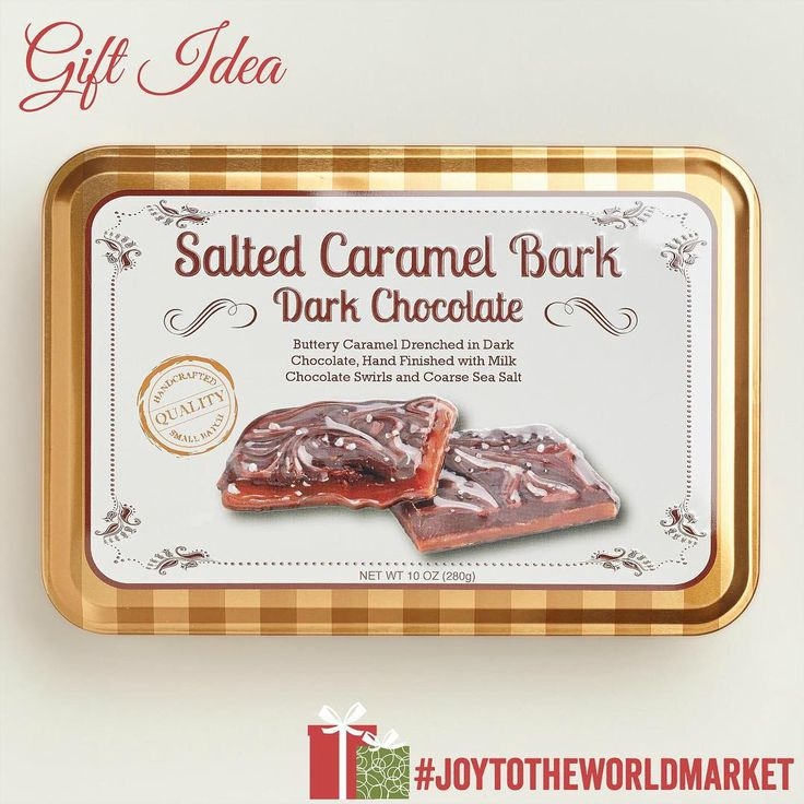 GIFT OF THE DAY: Hostess gift chosen by Lesley Nicol (Mrs. Patmore from Downton Abbey®). our Salted Caramel Bark Tin is a delicious sweet/salty treat! (link in profile to #shop) #JoytotheWorldMarket