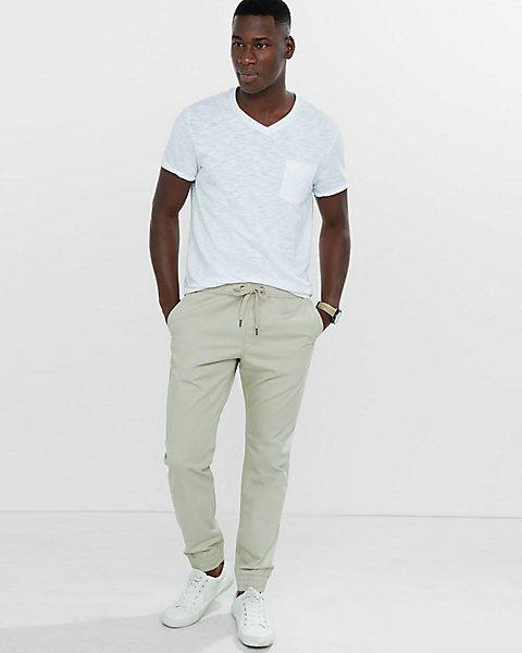 light khaki cotton jogger pant