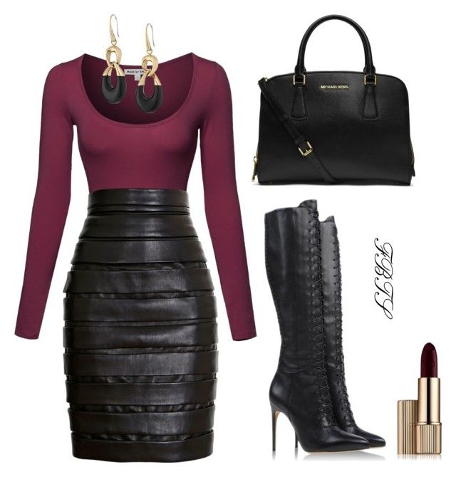 Leather Chic by flybeyondtheskies on Polyvore featuring Balmain, Alexandre Birman, MICHAEL Michael Kors, Michael Kors and Estée Lauder