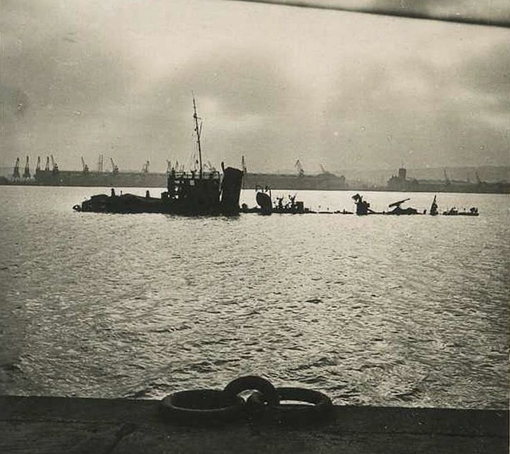 Wreck of bombed ORP Mazur. Photograph taken in port of Oksywie, Poland in September or October of 1939.