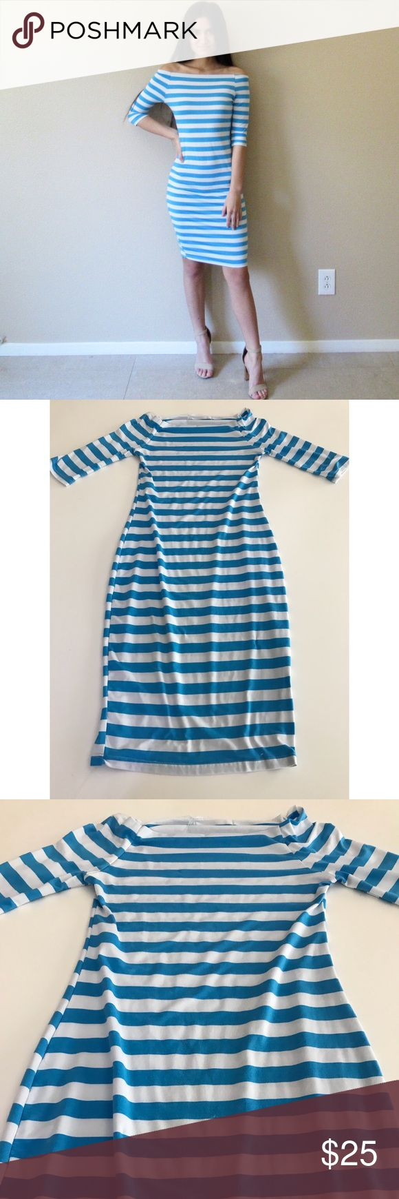 Off shoulder striped bodycon dress In excellent condition. Hugs figure and accentuates curves. Great business/office dress or for going out. Material is stretchy and breathable. Size is S. Dresses