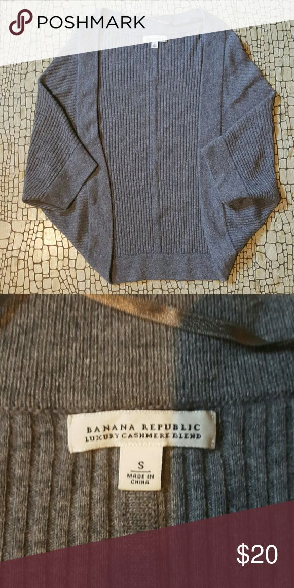 Banana Republic Cashmere Blend Shrug Sweater Soft dark grey shrug in a cashmere blend. Banana Republic, size small. Excellent condition with no snags or pulls. Banana Republic Sweaters Shrugs & Ponchos