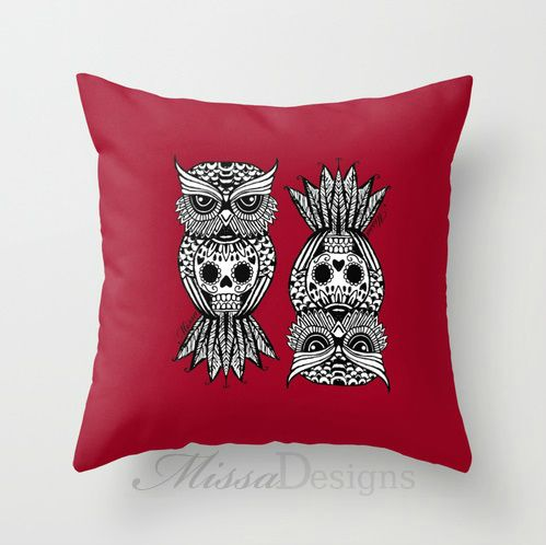 'Sugar Skull Hootle' cushion cover design Colourway: Red with black owl. Design by Missa Designs. Copyright 2013