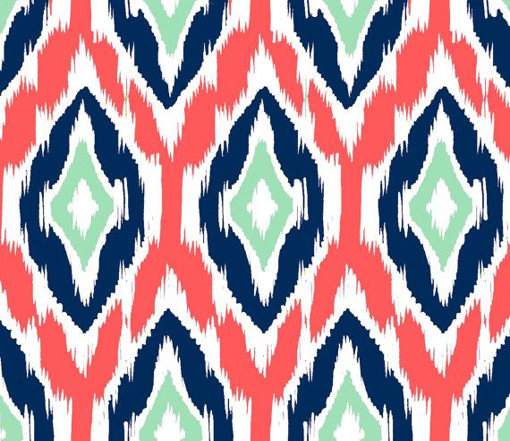 Designer fabric in coral navy, mint, and white Ikat pattern    Printed on 100% Kona cotton fabric, made from ring-spun yarn      4.5 oz per