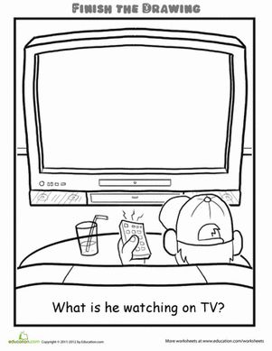 This Finish the Drawing TV worksheet gets your child to think, imagine, and draw. Use this Finish the Drawing TV worksheet with your child.