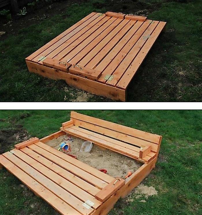 pallet sandbox for kids fun
