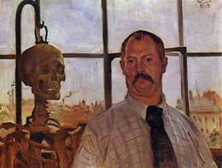 El significado de la danza  Autorretrato con esqueleto, Lovis Corinth: Selfportraits, Self Portraits, 1896, Skeletons, Loviscorinth, Artist, Painting