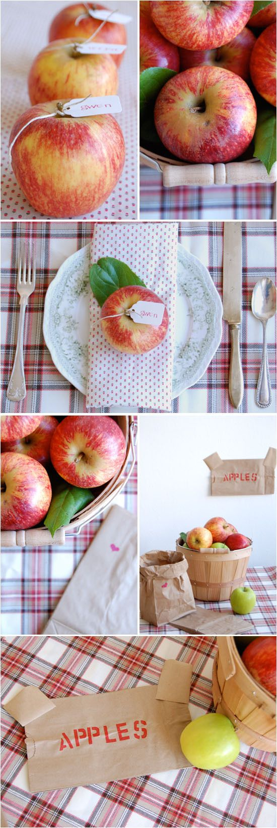 apple harvest favors - love the apples with string tied around them and a name tag.