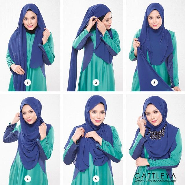 1. Put the hijab on your head with long and short sides 2. Bring the short side over your neck and pin it 3. Now take the long side loosely 4. Wrap it only over your neck 5. Bring it to the other side and pin it 6. Add one of your stateent necklaces
