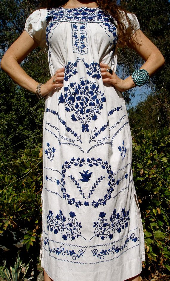 Classic blue and white Mexican embroidered dress