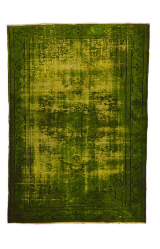 Moss Green over dyed rug.