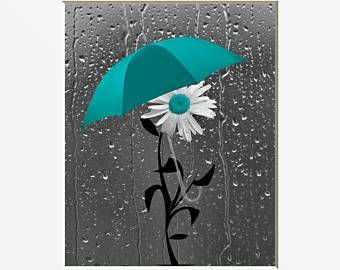 Teal Bathroom Decor Daisy Flower Umbrella Raindrops Wall Art Teal Gray Home Decor Picture Gray Bathroom Decor Teal Bathroom Decor Beach Wall Decor