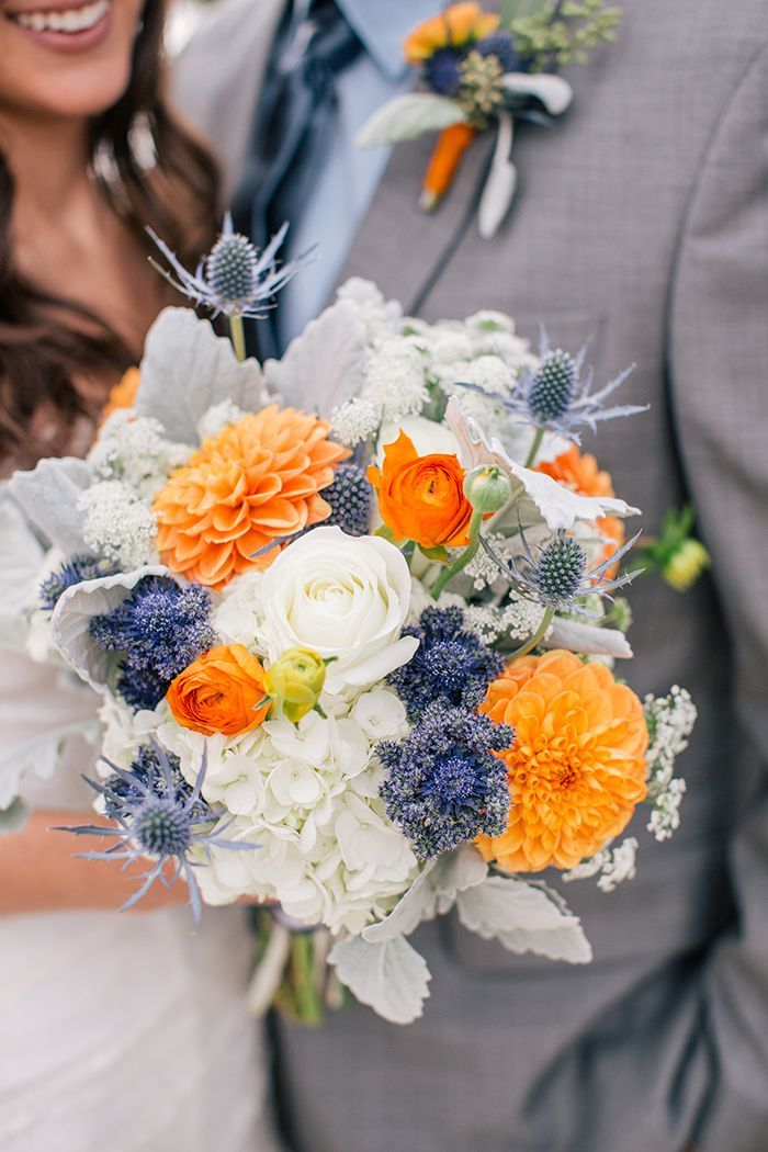 Love white, blue and orange wedding bouquet: