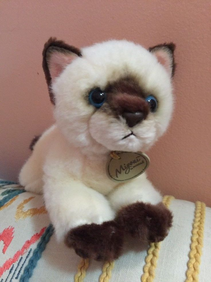 "Miyoni Siamese Cat Plush Realistic Stuffed Animal by Aurora 8"" Toy Blue Eyes #Aurora"