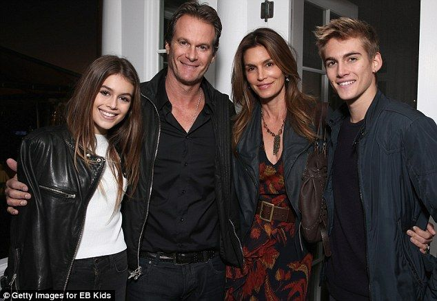 Happy family: Cindy Crawford brought along husband Randy Gerber and children Kaia and Presley to a charity show in Malibu on Sunday
