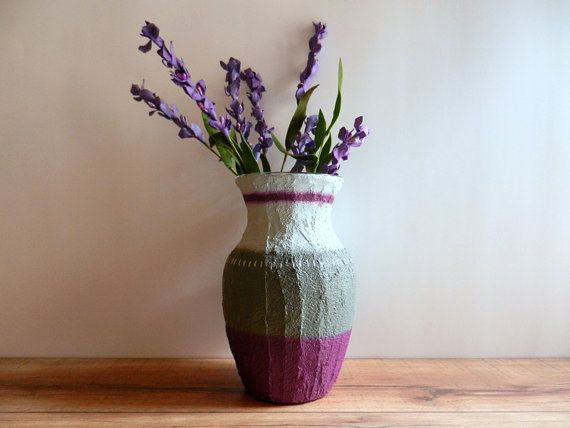 Vase / Purple and Gray Vase  / Purple Home by CarriageOakCottage